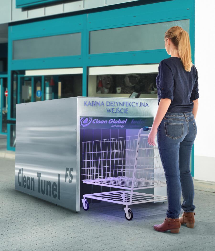 Urządzenia do dezynfekcji wózków sklepowych